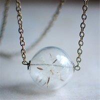 ingrosso gioielli che fanno collana-10pcs real Dandelion Necklace Fai un desiderio Clear Glass Orb sfera collana, dente di leone seme desiderio gioielli tono bronzo