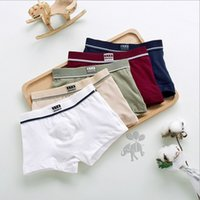Wholesale Panties For Kids - 5 Pcs lot High Quality Cotton Kids Boys Underwear Pure Color Shorts Panties For Baby Boys Boxer Children's Teenager Underwear