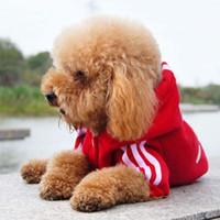 köpek tulumu toptan satış-Küçük Iki Bacaklar Yavru Köpek Coat Tulum Pet Pamuk Spor Kostüm Giyim Teddy Chihuahua Için Köpek Tulum Kazak Için