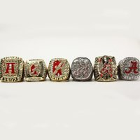 Wholesale Alabama Rings - 1992 2009 2011 2012 2015 2016 A set 6pcs Alabama Crimson Tide National Championship rings togther free shipping