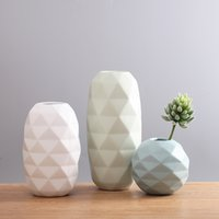 Wholesale Wedding Flowers Pics - 3 pic set Diamond Vase Origami Ceramic Novel Vase Modern Minimalist Living Room Table Decoration Ornaments Flower Wedding Gift Chrisma