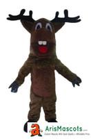 ingrosso avvolgere la pubblicità-formato adulto mascotte della renna di Brown scuro attrezzatura mascotte degli animali su ordinazione per la pubblicità Mascotte di Deguisement della mascotte di disegno della mascotte della squadra