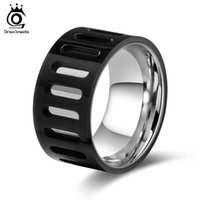 Wholesale Male Ring Black Titanium - Men Ring Titanium Steel Fashion Hollowed Black With Silver Color Wedding Engagement Band Male Finger Jewelry GTR34