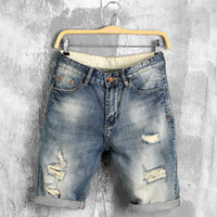 Wholesale Jeans Thigh Holes - Wholesale-2016 Summer New Fashoin Vintage Denim Hole Ripped Holey Cowboys Loose Fit Thigh Shorts Mens Jeans Short Pants For Men