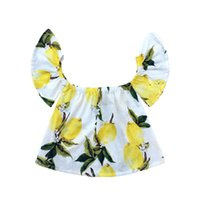 Wholesale Wholesale Off Shoulder Tees - Lemon Printed Baby Girls Top Off Collar New Summer Girls Tees Cotton Off Shoulder Baby Top 2017 Fashion Girls Top For Kids