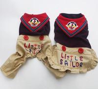 Wholesale Winter Jacket Sailor - New Dog Jumpsuit Dress Pet Rompers Pants Hoody Striped&Sailor ,dress for dog Clothes
