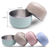 Wholesale Rice Steel Bowl - 304 Stainless Steel Children Rice Bowl - Small size Double-wall Wheat Straw Bowls For Food Salad Fruit Soup Noodle Bowls