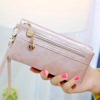 Wholesale Korean White Dress For Women - Fashion Women Zipper Wallets & Holders Clutch Bags PU Card Holders For Gift Lady Dress Long Wallets