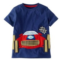 Wholesale Wholesale Car Clothing - 2017 Summer New Baby Boy T-shirts Racing Car Blue Fashion Short Sleeve T-shirts Children Clothing 1-6Y 6448