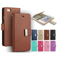 Wholesale Diary Case For Iphone - For iPhone 7 MERCURY Coospery Wallet Case for Galaxy S8 Rich Diary PU Leather Card Slot Multi Function Wallet Photo Frame Case OPP Bag