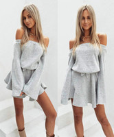 Wholesale Life Like Sexy Dolls - Autumn New Sexy Hot Casual Dresses Solid Color Knit Bra Strap Long Sleeve A Pendulum Skirt Life Like Sex Doll Gray Women Section Cheap Dress
