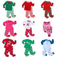 Wholesale Children Sleepwear Nightwear Pyjamas - New Autumn Long Sleeve Kids Pajamas Boys Girls Christmas Red Stripes Pyjamas Children Winter Sleepwear Nightwear Sets