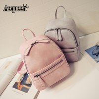 Wholesale Korean Bags For Sale - Wholesale- AEQUEEN Hot sale women backpack small candy color rucksack zipper bag ladies school bag backpacks for teenage girls