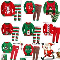 Wholesale Cute Outfits For Boys - Baby Christmas clothing 40 design Xmas Outfits for baby boys girls Cute Pajamas set Petal top+ pant 2017 Snowman Santa Christmas clothing
