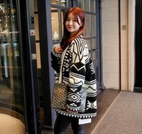 Wholesale New Aztec Tribal - Wholesale- 2016 new arrival autumn winter oversize black Geometric tribal cardigan women korean long sleeve aztec women sweater casaquinhos