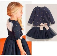 Wholesale Blue Dot Skirt Girls - 2017 Spring New Girl Sets Star Wing Long Sleeve Tshirts+Bow Gauze Skirt Fashion Outfits Children Clothing 8608