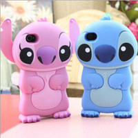Wholesale Iphone5 Cute Cases Covers - 3D Cute Anime Cartoon Stitch Soft Rubber Silicone Case Back Cover For iPhone7 7Plus 6S 6Plus iPhone5 5S SE 4S Samsung S3 S4 S5 S6 S7 edge