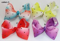 Wholesale Toddler Girl Large Hair Bows - 2 style available ! 6inch JoJo Large ombre Boomerang hair bow Rhinestone Hair Bow for baby Girls toddler Hair accessories 12pcs