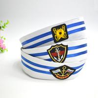 Wholesale Sailor White Uniform - New Cotton Naval Caps Hats for Men Women Children Trend Stage Performance Popeye Sailor Hat White Air Uniform Army Cap GH-243