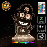 Wholesale Night Light Table Lamps - 3D Cartoon Film Figure 3D Night Light Projector Lampara Colors Changing Acrylic USB LED Table Lamp Kids Gifts Home Decor Unique