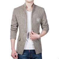 Wholesale Korean Fashion Blazer Men - Wholesale- New Arrival Single Button Leisure Blazer Men Male 2017 Korean Fashion Slim Fit Casual Blazer Brand Clothing Plus Size M-5XL