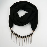 Wholesale Cheap Spike Collars - Newest Cheap Fashion Ladies Scarf Direct Factory Crystal Spike Pendant Neckerchief Women Punk Collar Scarves From China Factory