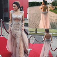 Wholesale Cheap White Jackets For Women - Sexy Blush Crystals Women Evening Dresses Backless Tulle with Cap Sleeves See Through Feather 2017 Cheap Prom Dress Gowns for Party Pageant