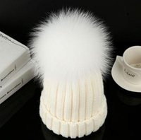 Wholesale Cheap Hair Balls - Autumn and winter warm hat real fur fox fur hair ball hat knitted wool hat Hats With Cheap Sports Skull Caps Hot Sale