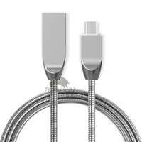 Wholesale I5 C - Metal Micro USB Cable 3.3ft(1m) Quick Charge Stainless Steel Braided Cord For i5 i6 i7 Samsung S8 S7 S6 Note 5 Android Mobile Phone