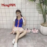 Wholesale Wholesale V Neck Tshirts Women - Wholesale- Mengpipi2017 UNIF Front Zip Short Paragraph Knitted Tshirts Sexy V-neck Slim Cropped Cardigan Sweater Short-sleeved t-shirt Tops