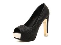 tiendas de zapatos de boda al por mayor-Mayorista del envío libre de compras de la gota plataforma del club nocturno sexy tacón alto mujeres peep toe OL zapato de la boda del talón grueso 137