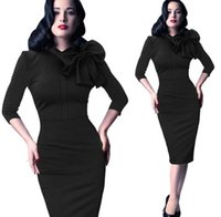 Wholesale Womens Vintage Rockabilly Pinup - Vfemage Womens Elegant 1950s Vintage Pinup Retro Rockabilly 3 4 Sleeve Bow Party Work Sheath Bodycon Wiggle Pencil Dress