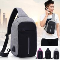 Wholesale Black One Charges - Anti-theft Laptop Notebook Backpack With USB Charging Port Children Women Men One Shoulder Bag Business Chest Pack 3 Colors 5pcs OOA3173
