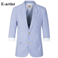 Wholesale Three Quarter Sleeve Suit Jacket - Wholesale- Trending Stripe Blazer Jackets Mens Slim Fit Casual Suits Coats Three Quarter Sleeve Outwear Overcoats Plus Size 5XL X76