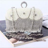 Wholesale Satin Pearl Bags - 2017 New Euramerican handmade Luxury Diamond satin pearl evening bag for women bridal wedding party green clutch evening bag