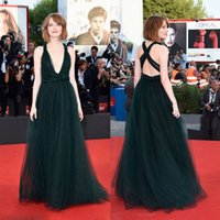 Wholesale Emma Stone - New Celebrity Red Carpet Emma Stone Ceremony at the 71st Venice Film Festival Sexy V-Neck Tulle Evening Dresses 2016