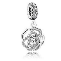 Wholesale Chamilia Pandora Beads 925 Silver - Fits Pandora Charm Bracelet Crystal Rose Flower Pendant Beads S 925 AleSterling Silver Dangle DIY Jewelry For Chamilia European WomnenCharms
