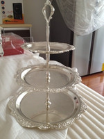 ingrosso lega di ems-2 pezzi 3 tier lega basamento della torta con vassoi metallo argentato supporto del basamento del bigné cibo dessert display home bar ems spedizione gratuita