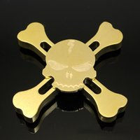 Wholesale Quad Machine - Brass Skull Spinner Metal Skull Quad-Spinner Machined Brass Hand Spinner Fidget Spinners EDC Decompression Fidget Toys