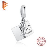 "Wholesale read love - BELAWANG ""I Love Reading"" Book Pendant Charms 925 Sterling Silver Dangle Glasses Book Silver Loose Beads Fit Pandora Bracelets DIY Jewelry"