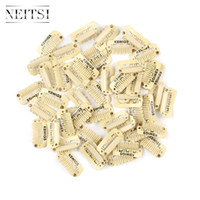 Wholesale Professional Hair Clips - Neitsi Professional 2.3cm Metal U Shape Snap Clips For DIY Clip In Hair Extensions Blond# 100pcs lot