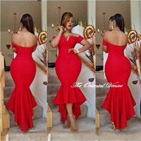 Wholesale Myriam Dress Tea - Saudi Arabia Dubai Evening Dress Short Sleeve Red Mermaid Prom Dresses 2017 Vestido de Festa Off the Shoulder Myriam Fares Dress