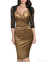 Wholesale Elegant Dress Vintage Casual Evening - Women's Vintage Dress 3 4 Sleeve Deep-V Neck Ruffles Floral Lace Fitted Slim Retro Elegant Evening Special Occasion Badycon Pencil Dres