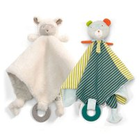 Wholesale baby doll sheep - Baby Multifunctional Grasping soft calm sheep dog Comforting Doll plush towel Rattle toys 33cm