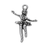 Barato Encantos De Metal Desportivo-Vintage Style Antique Silver Plated Single Sided Metal Sport Ice Skating Girl Charms Jóias