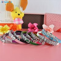 Wholesale Bling Personalized Cat Collar - Wholesale- Bling Pu Leather 10MM Personalized Dog Pet Puppy Cat Collar with Free Letters Charms