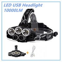 Wholesale Emergency Headlights - 5 CREE led headlamp XM L T6 Q5 headlight 15000 lumens led head lamp camp hike emergency light fishing outdoor equipment