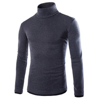 Wholesale Mens Thin Turtleneck - Wholesale- 2016 New Basic Style Men's tops Turtleneck Knitted Pullover spring Autumn Slim Fit Elastic Homme Solid sweaters Mens knitwear