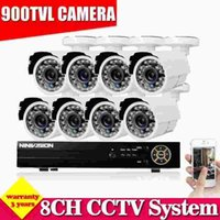 Wholesale Cctv 8ch Cmos - White camera 900TVL CCTV System 8CH AHD CCTV DVR with 960H CMOS Camera Security System with IR Cut Filter 8CH DVR Kit NO HDD