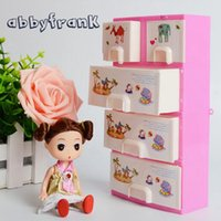 Wholesale Bedroom Furniture For Girls - Doll Furniture Girls Toys Pink Wardrobe Storage Cabinet Princess Bedroom Doll Accessories For Doll Dollhouse Bedroom Furniture